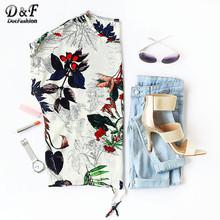 Buy Dotfashion Printed Women T-Shirt Casual Girls Loose Korean Summer T-Shirt Tropical Print Drawstring Hem T-shirt for $8.98 in AliExpress store