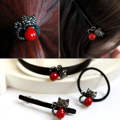 Lovely Red Cat Acrylic Hair Bands Rubber Bands Black Clips Hair Accessories for Girls Women Headwear(China (Mainland))