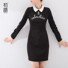 Toyouth Autumn 2017 Medium-Long Female One-Piece Dress Long-Sleeve Letter Printed Turn-Down Collar Ladies Dress(China (Mainland))