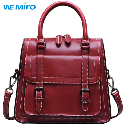 Genuine Leather Satchel On Sale Ladies Hand Bags Burgundy Zipper Top Handle Shoulder Strap Bolsos Mujer 2015 De Couro(China (Mainland))