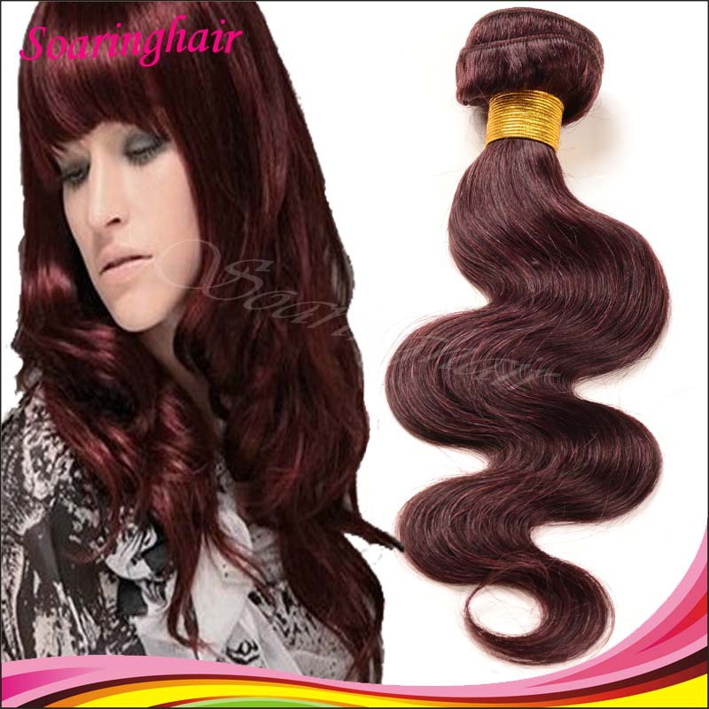 Colored Body Wave Hair burgundy red 99J# Color 100 Humain Vierge Body Wavy Hair Weaves Hair Extensions 1pc Red 99j Burgundy Hair(China (Mainland))