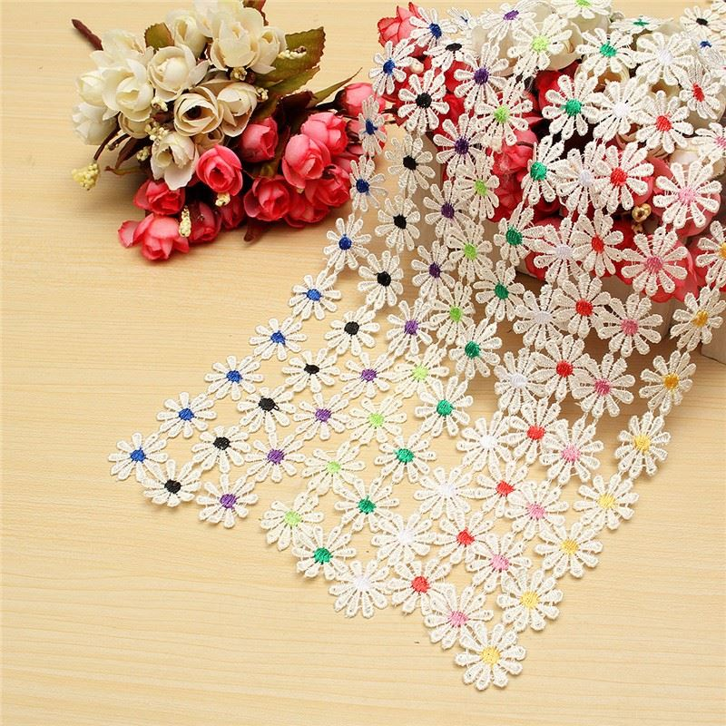 Excellent Flower Daisy Floral Bilateral Embroidered Edge DIY Lace Trim Ribbon Sewing Craft for Home Wedding Cloth Party Decor(China (Mainland))