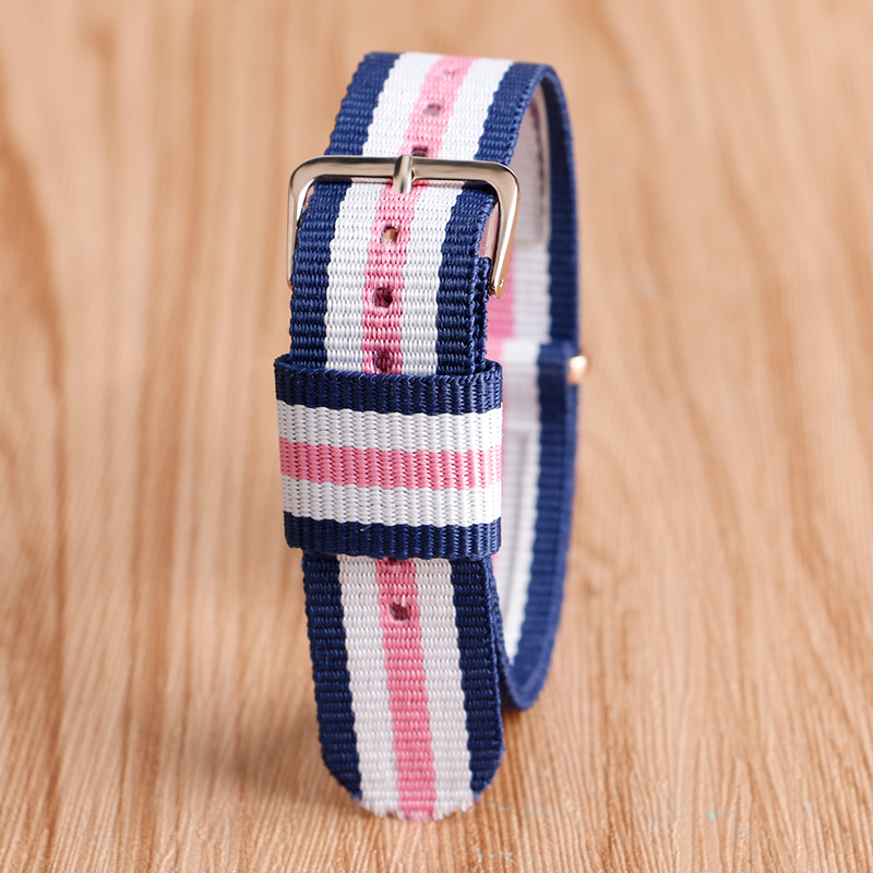 Sport Style Nylon Stripe Flash Color 20mm Watchband + 2 Spring Bar Casual Comfortable Wrist Watch Band Strap(China (Mainland))