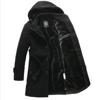 Men's winter coat  slim  brand jackets men  medium-long velvet overcoat ,men winter thickening jacket, 4XLwool Trench coat men