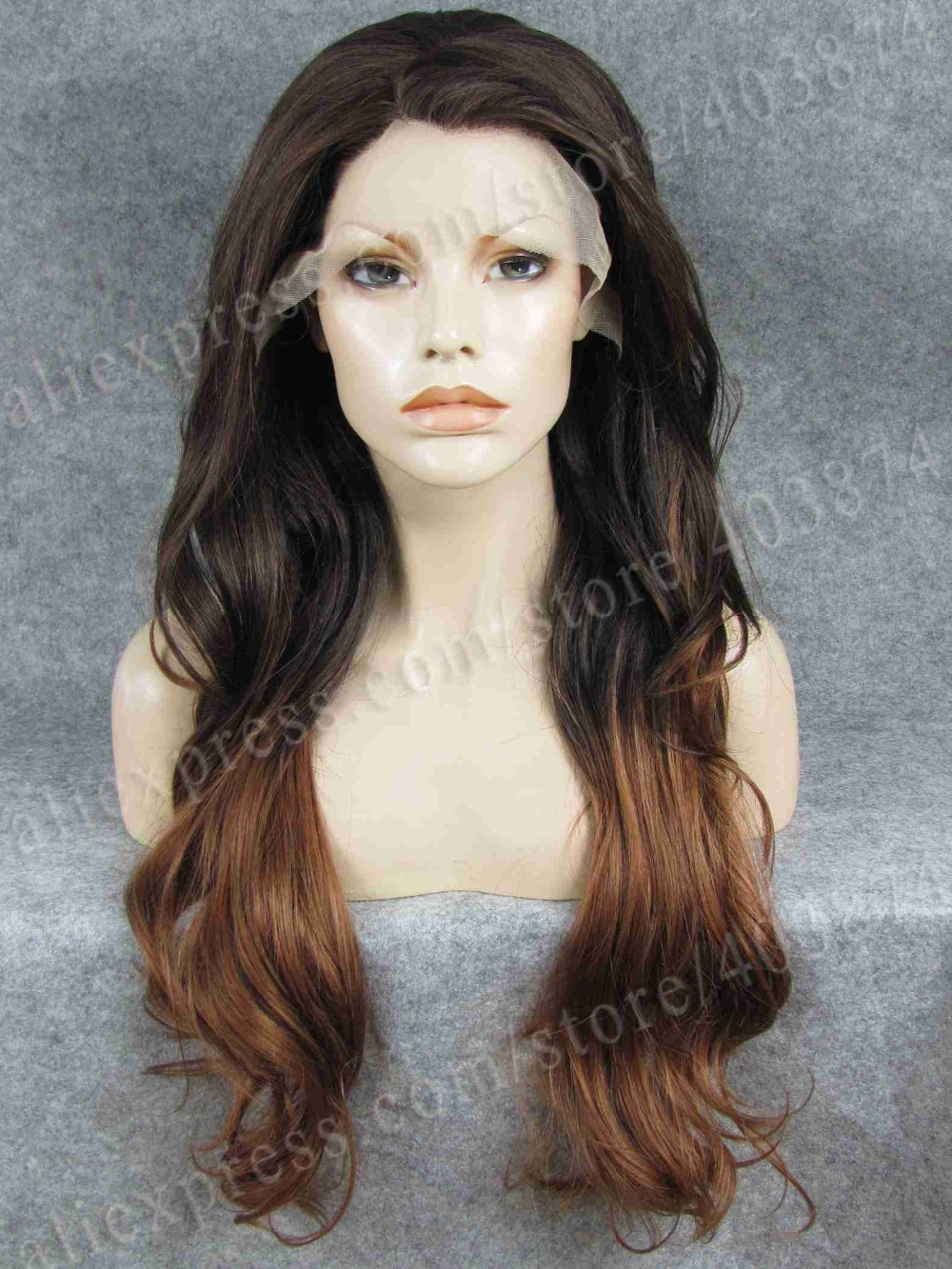 2015 New Color Arrival Two Tone Mixed Ombre Wig Long Loose Wavy Heat Resistant Synthetic Lace Front Wig <br><br>Aliexpress