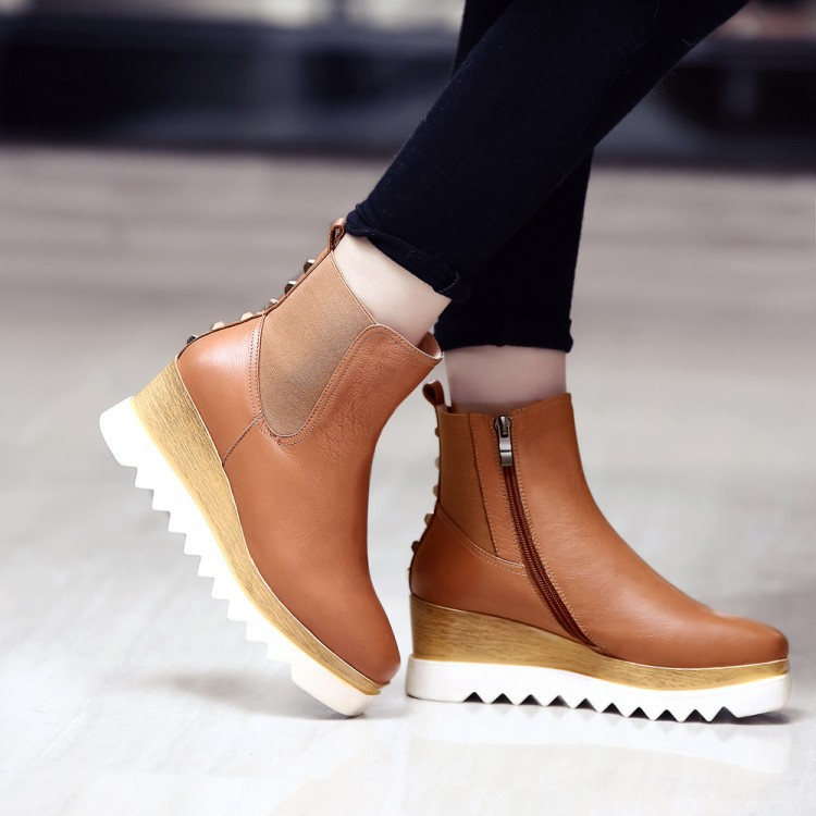 Фотография genuine leather spring autumn wedges Brown, black shoes woman women round toe high heels platform ankle boots for woman shoes