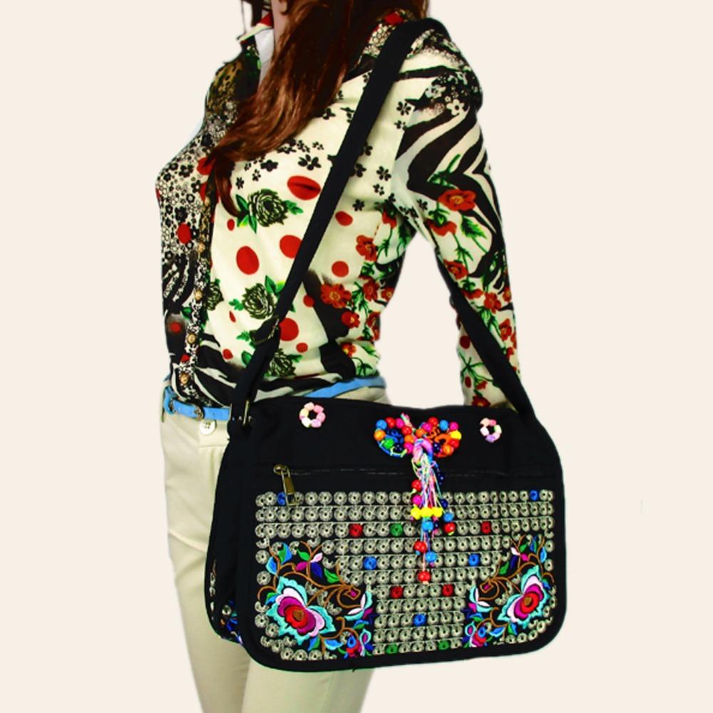 2 pcs set of Vintage Hmong Tribal Ethnic Thai Indian Boho shoulder bag messenger embroidery, pom pom trim SYS-366<br><br>Aliexpress