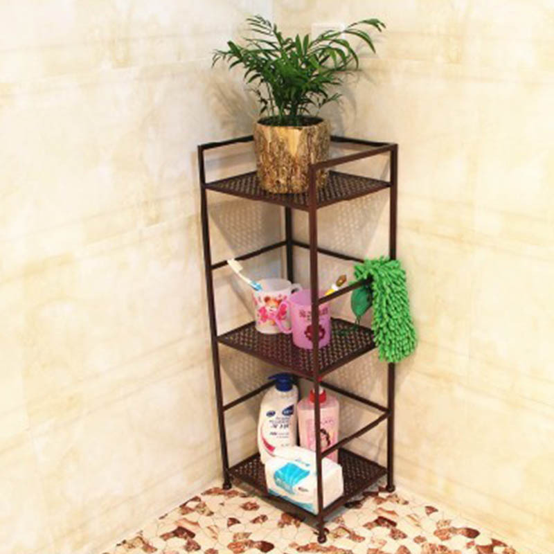 Factory Outlets Bathroom Storage Rack Bathroom Washstand Iron Floor Three Bathroom Corner Shelf