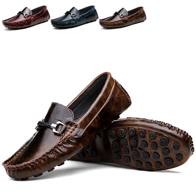 Весенние мужчины плоские туфли бездельник обувь свободного покроя комфорт вождения ...