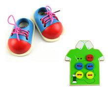 3 unids/set juguetes para bebés Early Learning juguetes de madera del cordón para arriba los zapatos / desgaste botón Montessori bloques cuentas regalo de cumpleaños del niño(China (Mainland))