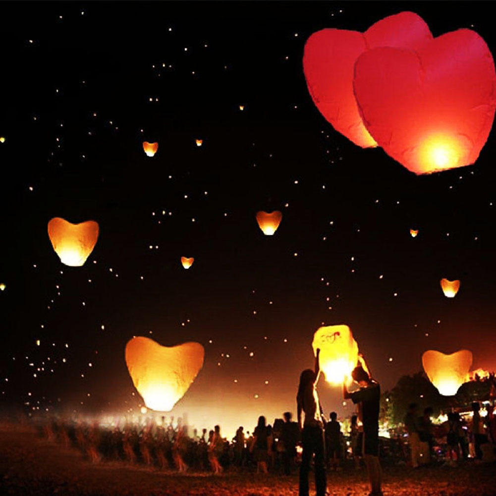 Cute Love Heart Sky Lantern Chinese Traditional Love Heart KongMing Sky For Birthday Party(China (Mainland))