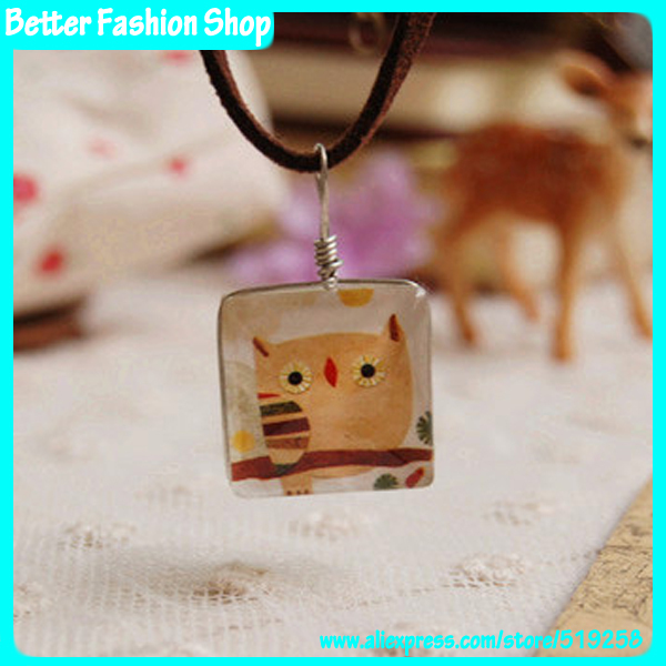 Animal Jewelry cute owls pattern double sided square glass charm pendant necklace leather wire women 2014 - Better Fashion Shop store