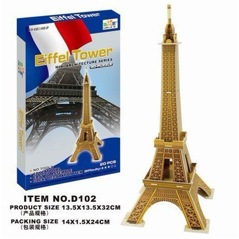 LINGLESI D102 3D puzzle paper craft Eiffel Tower DIY 3D three-dimensional puzzles Building model kids toys for children Gift(China (Mainland))