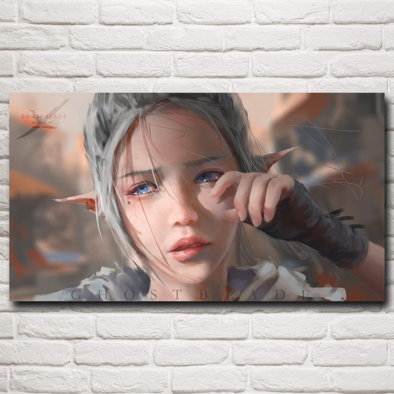 Anime Crying Elves Blue Eyes Grey Hair WLOP Pointed Ears Tears Silk Poster Home Decor 11x20 16x29 20x36 Inches Free Shipping(China (Mainland))