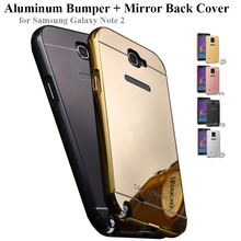 Mirror Hard Back Cover Fundas + Aluminium Bumper Frame for Samsung Galaxy Note 2 Case N7100 Mobile Phone Cases Metal Protector(China (Mainland))
