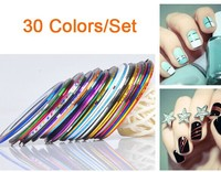 30 Colors Rolls Striping Tape Line Nail Art Sticker Tools polish Beauty Decorations for on Nail Stickers