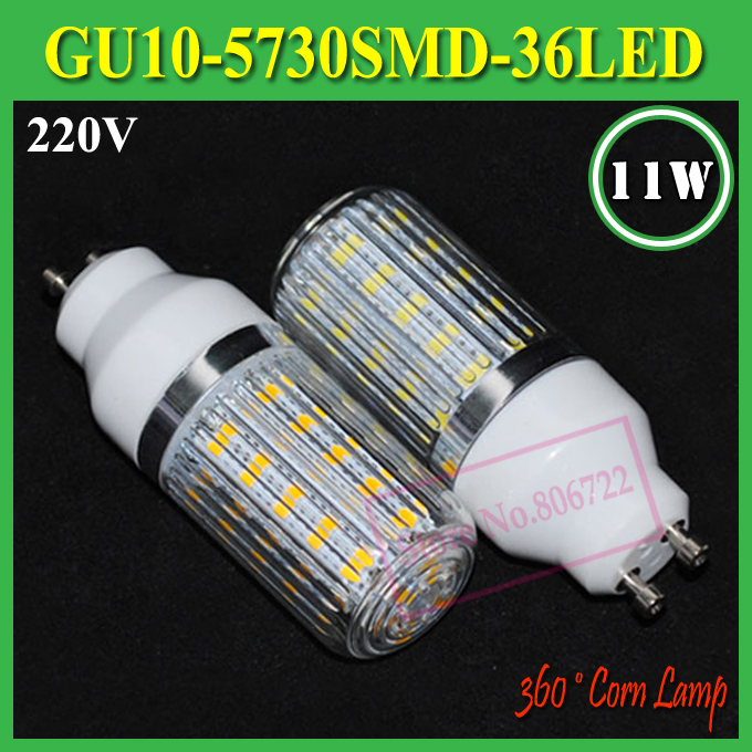 led lamps gu10 light gu10 4Pcs/Lot 220V Bulbs Tubes Diamond Surface Lights gu10 5730 36leds Corn BulbsLamps 11W(China (Mainland))