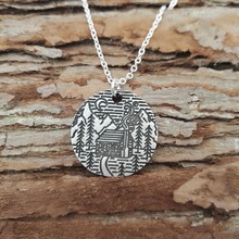 10pcs necklaces & Pendants antique silver plated tree moon and house under the river mountain Necklace natural love Jewelry Gift(China (Mainland))