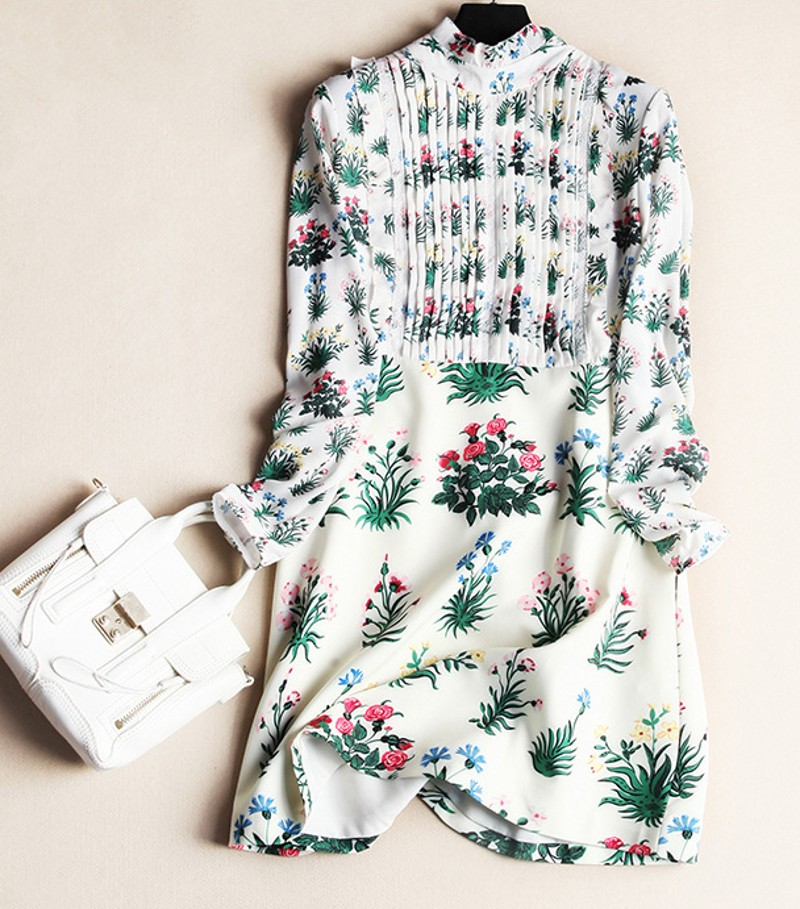 The new Europe and the United States women's spring 2016 Long sleeve to collar crushing floral print leisure dress(China (Mainland))