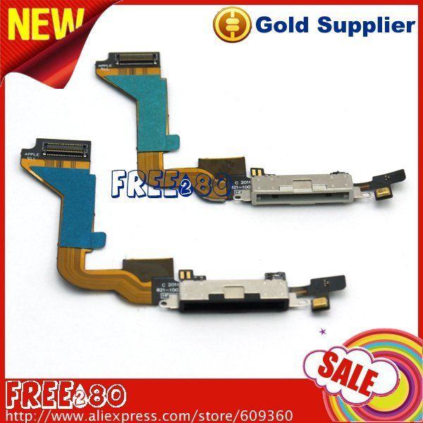 black and white charger dock connector flex cable accessories repair parts for iPhone 4