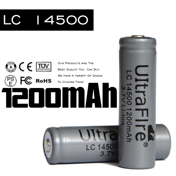 Hot 10Pcs/lot Ultrafire 14500 Battery 3.7v 1200mah Li Ion Rechargeable Batteries FOR Power Bank FREE SHIPPING !!(China (Mainland))