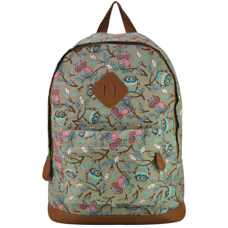 New 2015 Casual Canvas Backpack Printed Women Fashion School Bags For Girls Owl Printing