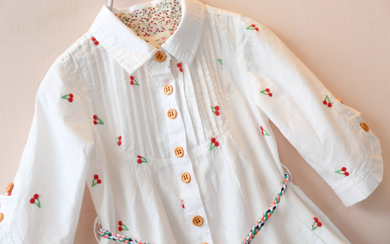 Chemise Garcon Roupas Infantis Menina New 2016 Spring Children Embroidered And Sleeved Trend Style Kids Girl Trench 100-140cm