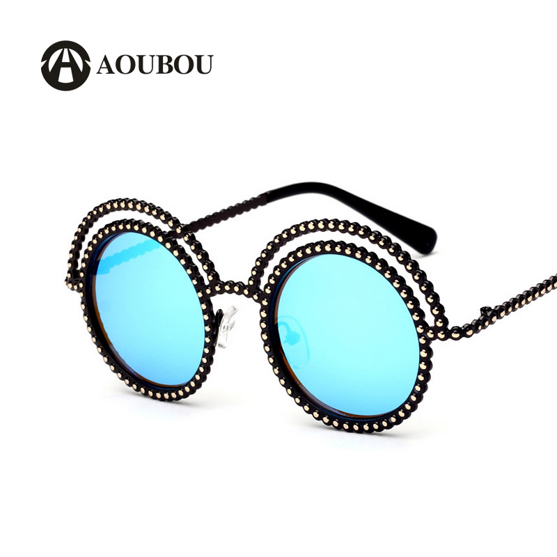 Double Circle Metal Imitation Pearl Sunglasses Women Brand Design Round Frame Pink Princess Style Lunette De Soleil Femme AS074(China (Mainland))