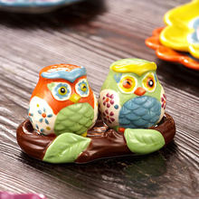 hand painted relief owl ceramic Salt & Pepper shakers with tray owls on tree shape salt pepper bottles(China (Mainland))