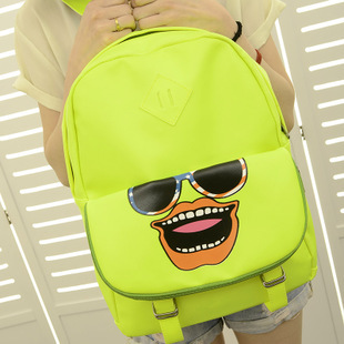 Backpack 2013 spring and summer PU hippo1 neon color cartoon bag preppy style student bag