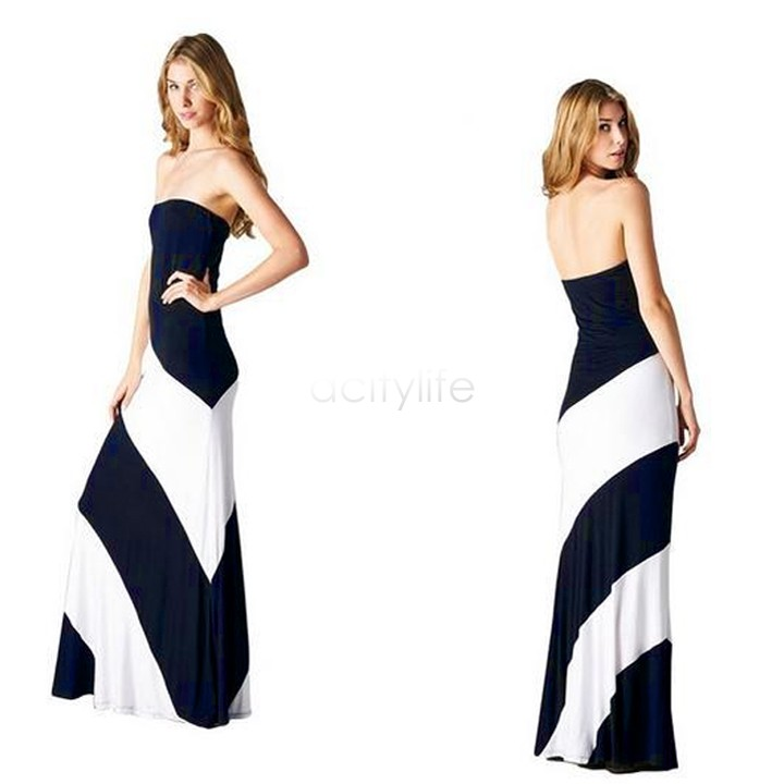 Hot Sale Sexy Ladies Design Long Strapless Stripe Viscose Dresses Striped Maxi Dress Black White Jersey FreeShipping 38(China (Mainland))