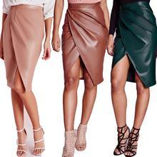 Мода высокая талия пу искусственной кожи сплит-единственным Bodycon юбки женщин 2016 твердых Saia Faldas Mujer сексуальная ну вечеринку женщины юбка карандаш