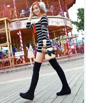 Women boots 2015 autumn winter ladies fashion flat bottom boots shoes over the knee thigh high suede long boots brand designer(China (Mainland))