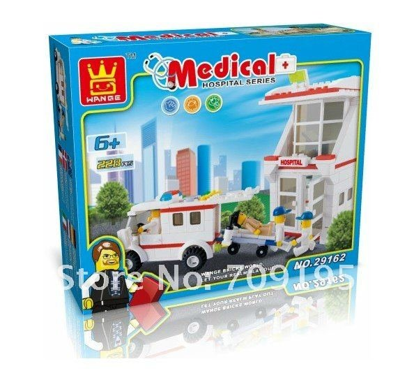 Enlighten Child 29162 DIY educational toys Medical Series 228pcs wange toys building block sets,children the toy Free Shipping(China (Mainland))