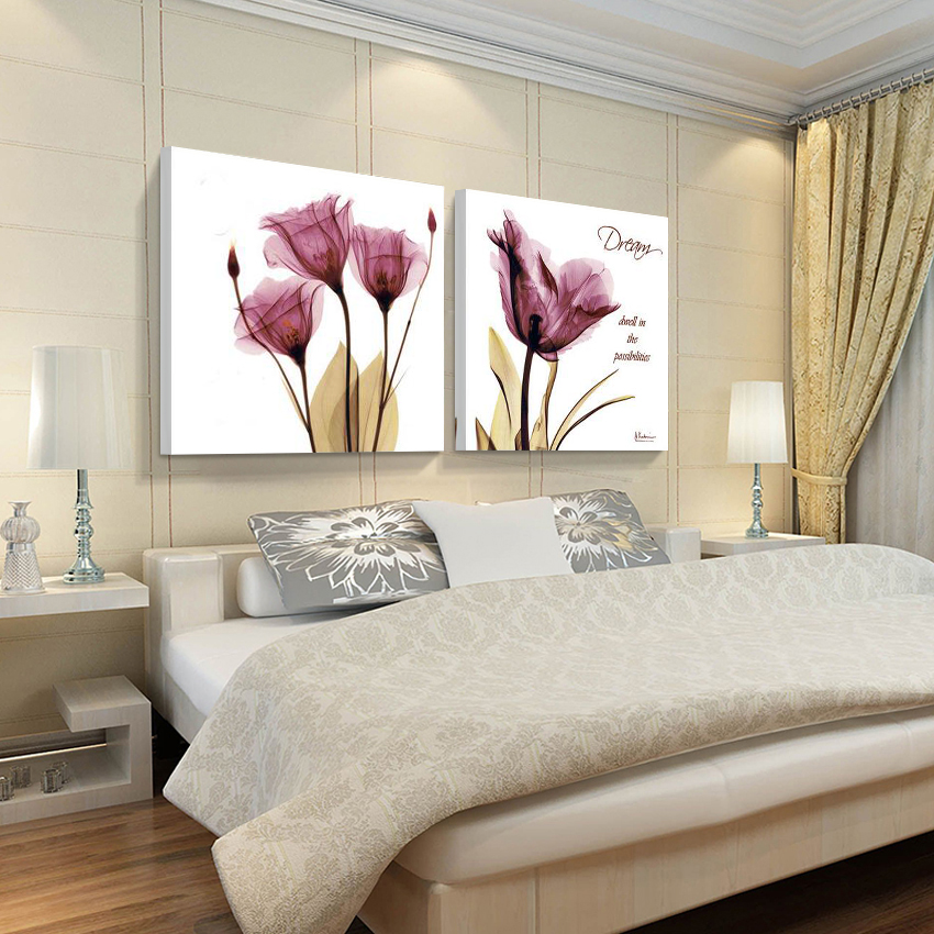 (no Frames) 2pcs canvas wall art pictures for sale living room the paintings purple modern abstract painting oil paint flowers(China (Mainland))