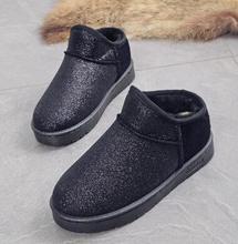 Invierno nieve botas impermeables botas de tobillo pu botas de cuero caliente de la felpa niñas planos del talón de algodón zapatos de la escuela(China (Mainland))