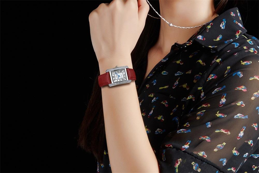 FOTINA Люксовый Бренд Часы Женщины Дамы Алмаз Платье Часы Повседневная Кристалл Кварцевые Часы Кожаный Ремешок Наручные Часы