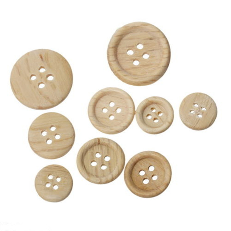 2016 Fashion Trendy 100 Pcs 15mm 20mm Mixed Wooden Buttons Natural Color Round 4-Holes Sewing Scrapbooking DIY Free Shipping(China (Mainland))