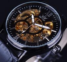 SEWOR Black Golden Design Black Mens Watch Top Brand Luxury Erkek Saat Skeleton Mechanical Watch Male Clock Relogio Montre Homme