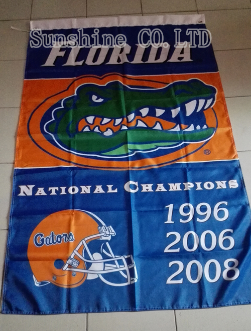 University of Florida Gators NCAA 3 Time National Champions Flag hot sell goods 3X5FT 150X90CM Banner brass metal holes FG08(China (Mainland))