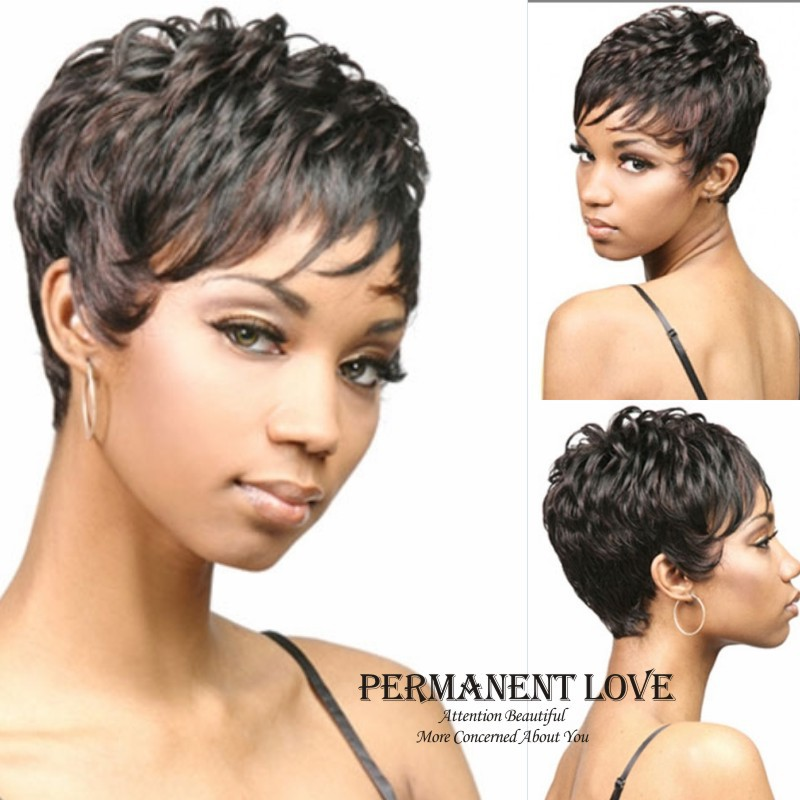 synthetic Short Natural black curly wig for black women pixie cut Heat ...