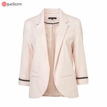 2016 Womens Candy Color Rolled Up Three Quarter Sleeve OL No-Buckle Blazer Jacket Small Suits VS-6029