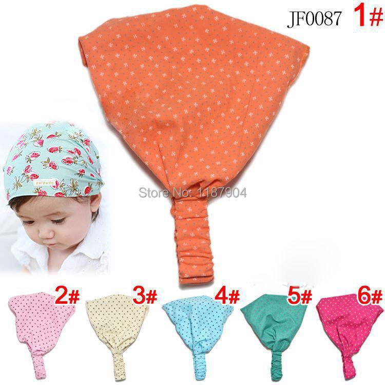 6Colors 20PCS/Lot cross Printing Cotton Baby Headband Children Girl Bandanas Head scarf Band 1-3 Year Kids Girls(China (Mainland))