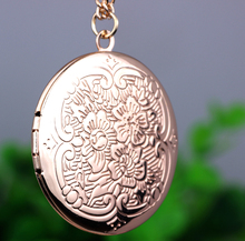 Unique Pendant Necklace Souvenir photo locket for women Flower pendant 18k real gold plated LM-N213(China (Mainland))