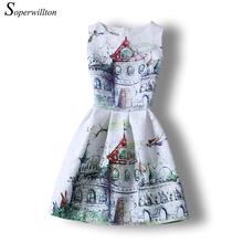 Soperwillton New 2016 Women Summer Dresses O-Neck Vestidos Sundress Vintage Girl Dress Ladies Clothing Printing Floral #A801(China (Mainland))