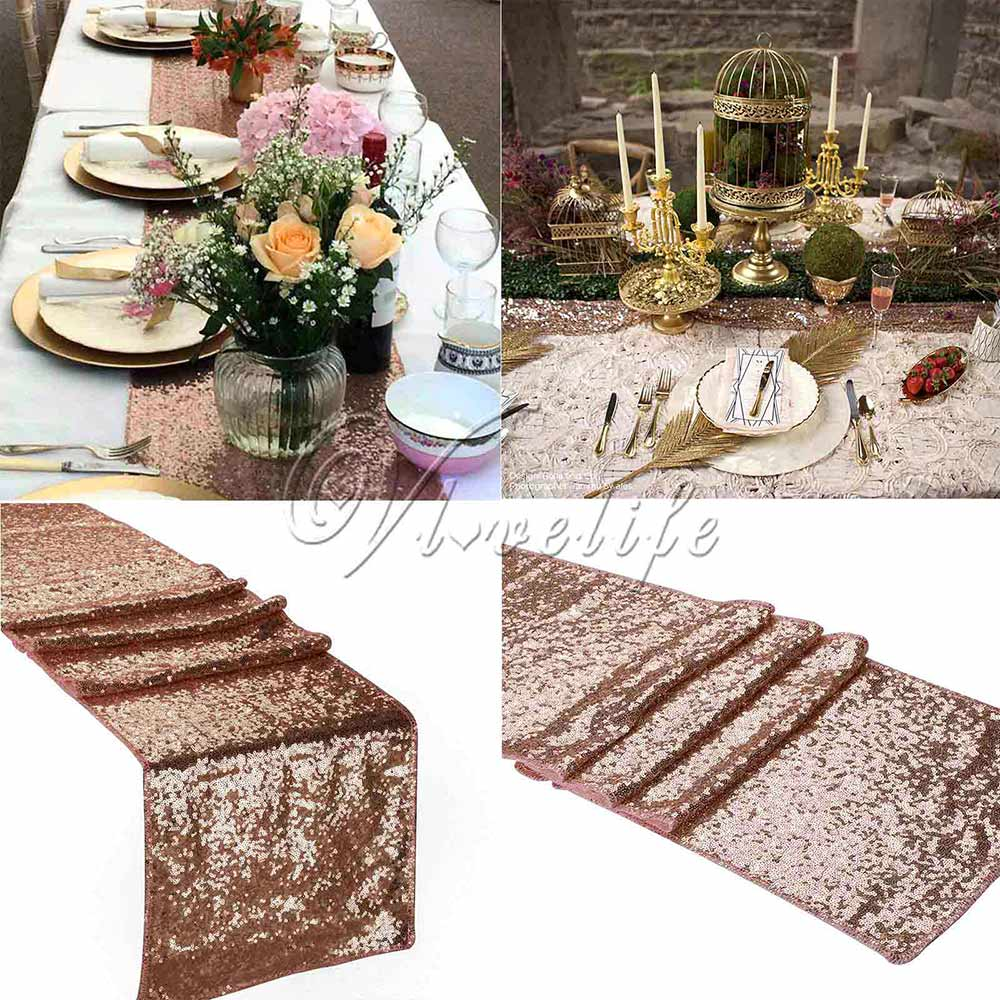"""One Champagne Sequin Table Runner 12""""x108"""" Sparkly Bling Table Runner 2.75m*30cm Wedding Party Decorations Supply Accessories(China (Mainland))"""