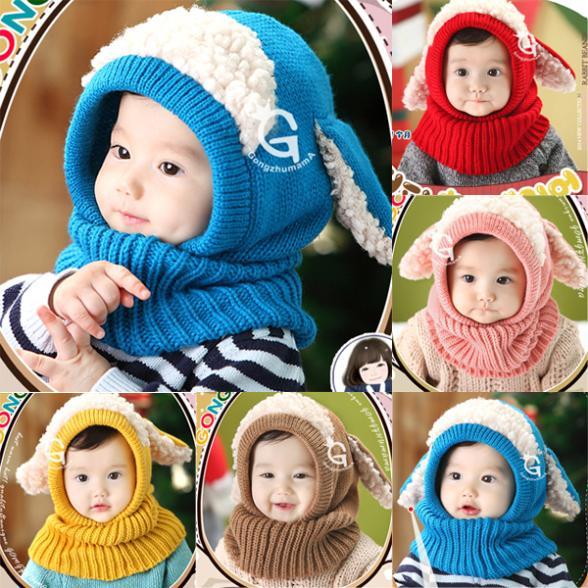 Toddler Kids Girls Boy Hats Coif Hood Kintted Woolen Scarves Caps Winter Warm Cap(China (Mainland))