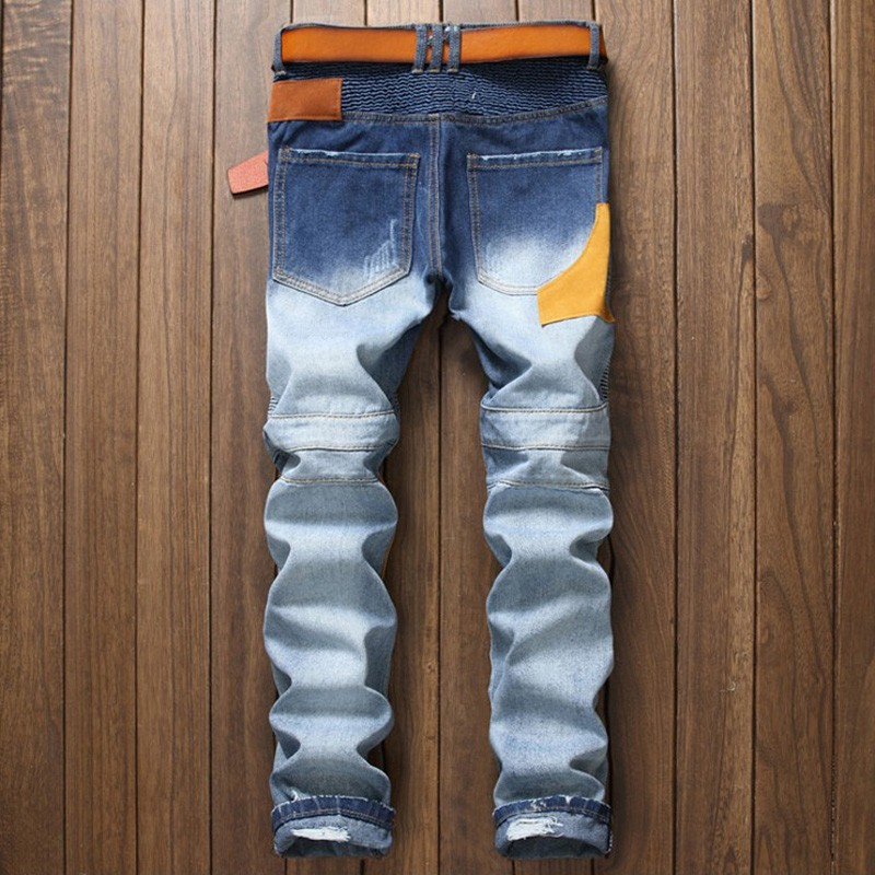 Personality Patchowrk Biker jeans New Designer Slim Jeans Men High Quality Hip Hop Ripped Jeans Pants Straight Hole Denim Jeans