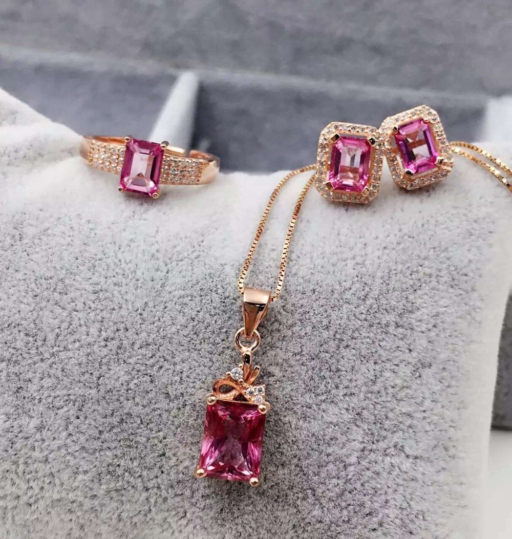 Classic simple square 925 silver natural pink topaz stone ring earrings for women party natural gem stone wedding jewelry sets<br><br>Aliexpress