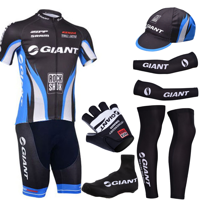 2014 Black Giant cycling clothes/ Giant summer cycling jersey bibs shorts set with warmers and half finger cycling gloves 217#<br><br>Aliexpress